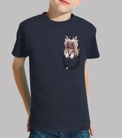 perrito con cresta chino del bolsillo - camisa de los niños