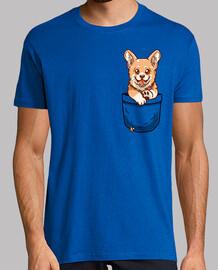 perrito corgi de bolsillo - camisa de hombre