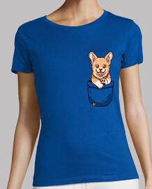 perrito corgi de bolsillo - camisa de mujer