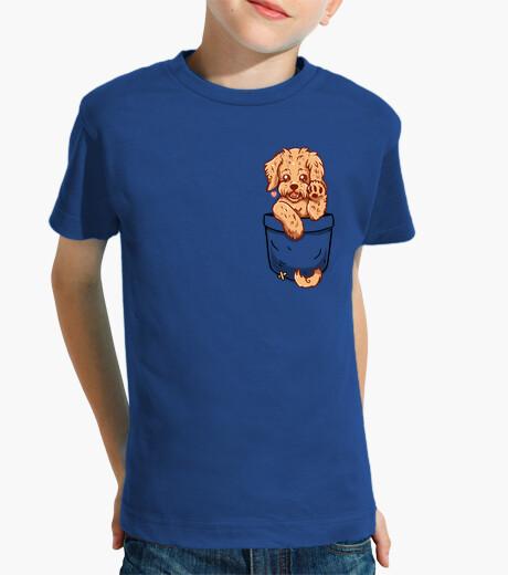 Ropa infantil perrito del labradoodle del bolsillo - camisa de los niños