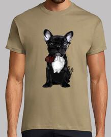 Perro Bulldog pipa