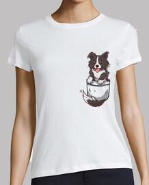 perro lindo del border collie del bolsillo - camisa de la mujer