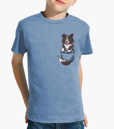 Ropa infantil perro lindo del border collie del bolsillo - camisa de los niños