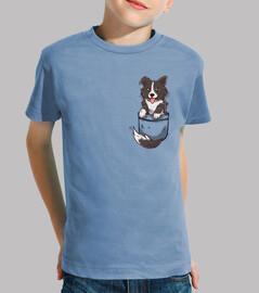 perro lindo del border collie del bolsillo - camisa de los niños