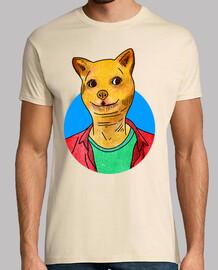 Perro Meme - Hombre, manga corta, crema, calidad extra