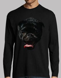 Perro Pug Carlino sacando la lengua Camiseta manga larga hombre