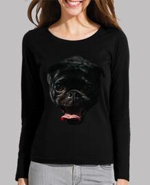 Perro Pug Carlino sacando la lengua Camiseta mujer manga larga