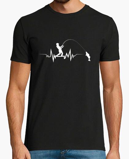 Camiseta Pescador Sobre Olas De Latidos Del Corazón