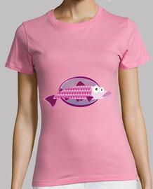 pesci della donna, manica corta, colore rosa, di qualità premium