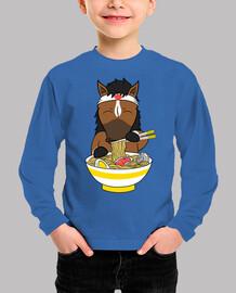 pet horse eating ramen