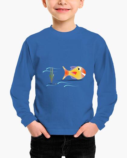 Ropa infantil Pez en el agua,camiseta manga larga