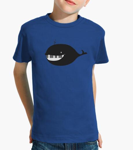 Ropa infantil piano ballena clave de sol camiseta niño azul