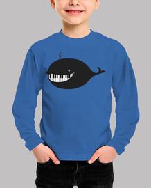 piano ballena clave de sol camiseta niño azul