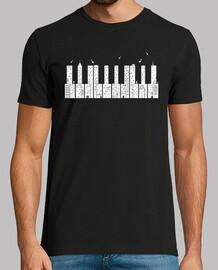 piano ciudad blanco camiseta hombre negra