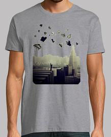 piano ciudad camiseta hombre gris