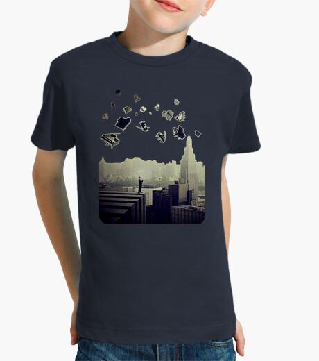 Ropa infantil piano ciudad camiseta niño azul