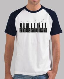 piano ciudad negro camiseta hombre negra