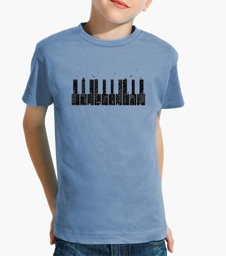Ropa infantil piano ciudad negro camiseta niño azul