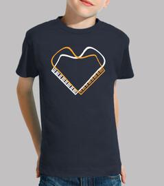 piano corazon blanco naranja camiseta niño azul