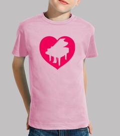 piano corazon camiseta niño rosa