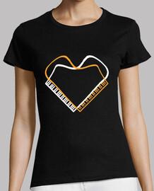 piano corazon doble camiseta mujer negra