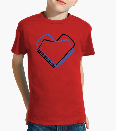 Ropa infantil piano corazon negro azul camiseta niño roja