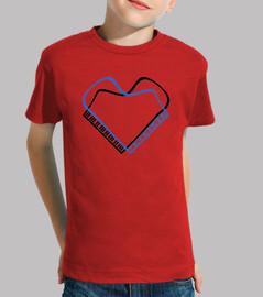 piano corazon negro azul camiseta niño roja