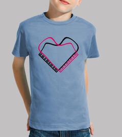 piano corazon negro rosa camiseta niño azul