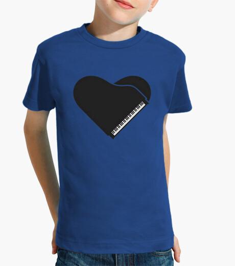 Ropa infantil piano forma corazon negro camiseta niño azul