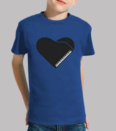piano forma corazon negro camiseta niño azul