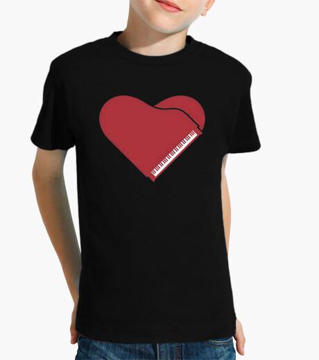 Ropa infantil piano forma corazon rojo camiseta niño negra