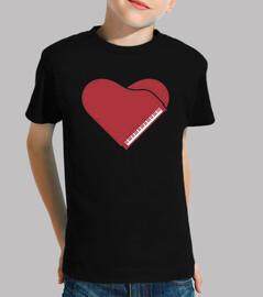 piano forma corazon rojo camiseta niño negra