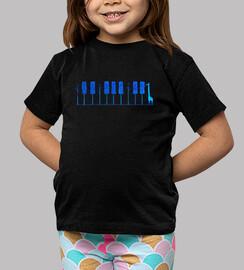 piano girafa azul camiseta niño negra