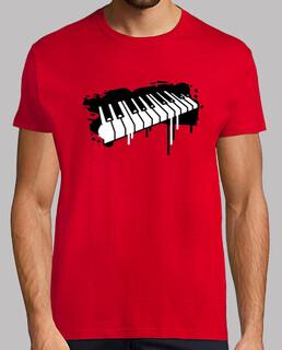 piano graffiti camiseta hombre roja