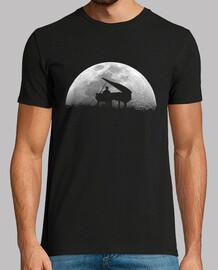 piano luna camiseta hombre negra