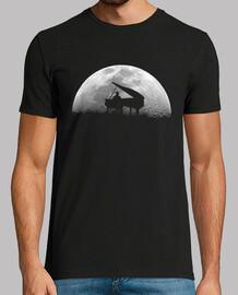 piano luna camiseta negra hombre