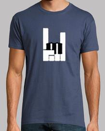 piano mano teclas cuernos camiseta hombre azul