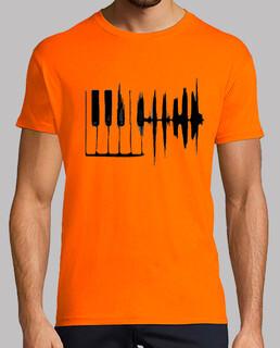 piano ondas blanco camiseta hombre naranja