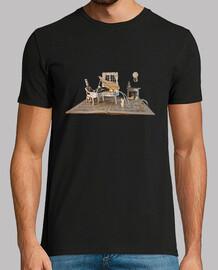 piano partitura camiseta hombre negra
