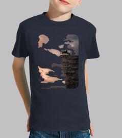 piano precipicio camiseta niño azul