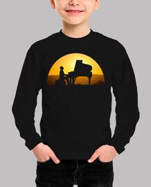 piano puesta de sol camiseta niño negra