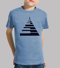 piano teclas piramide negro camiseta niño azul