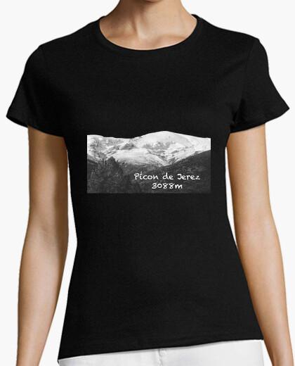 Camiseta Picon Mujer, manga corta, negra, calidad premium