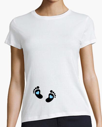 Camiseta Piececitos Negros Corazón Azul