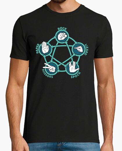 Camiseta Piedra, Papel, Tijera, Lagarto o Spock (TBBT)