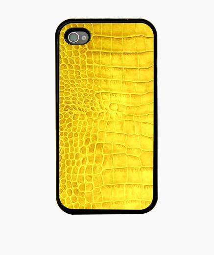 Funda iPhone piel de cocodrilo de color amarillo
