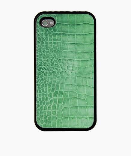 Funda iPhone piel de cocodrilo verde