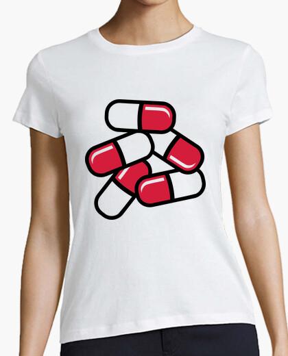 T-shirt pillole rosse della medicina