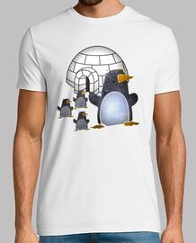 Pinguinos paseando por el hielo
