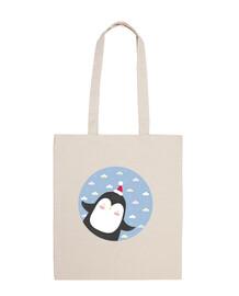 pingüino de la navidad - volar alto! bolsa de algodón